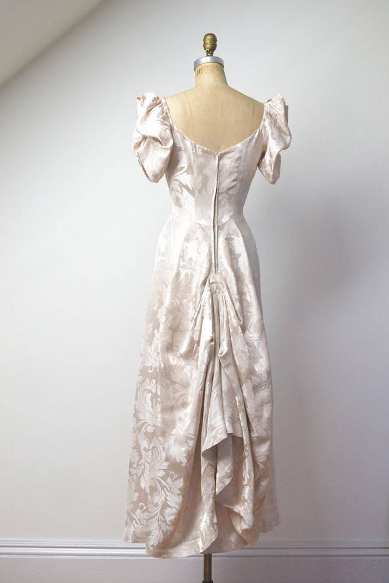 1930s Gown / 30s Damask Wedding Dress en
