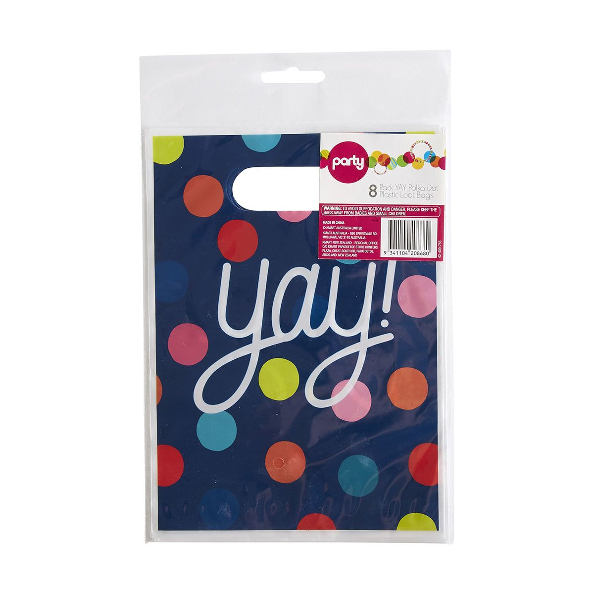 8 Pack Yay Polka Dot Plastic Loot Bags Kmart 1st