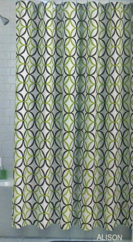 Amazon Com Alison Fabric Shower Curtain Olive Lime Green Brown Geo Design Print On White Bedding Bath Brown Shower Curtain