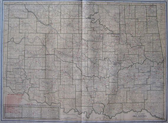 1921 Antique Oklahoma Map Vintage State Map w Railroads Rare