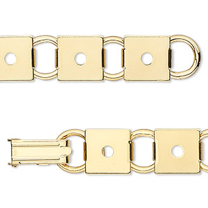 Bracelet Component Gold Plated Steel 12 10mm Square Link Settings 7 Inches With Fold Over Clasp Sold Per Pkg Of 2 Bracelet Components Gold Plate Clasp