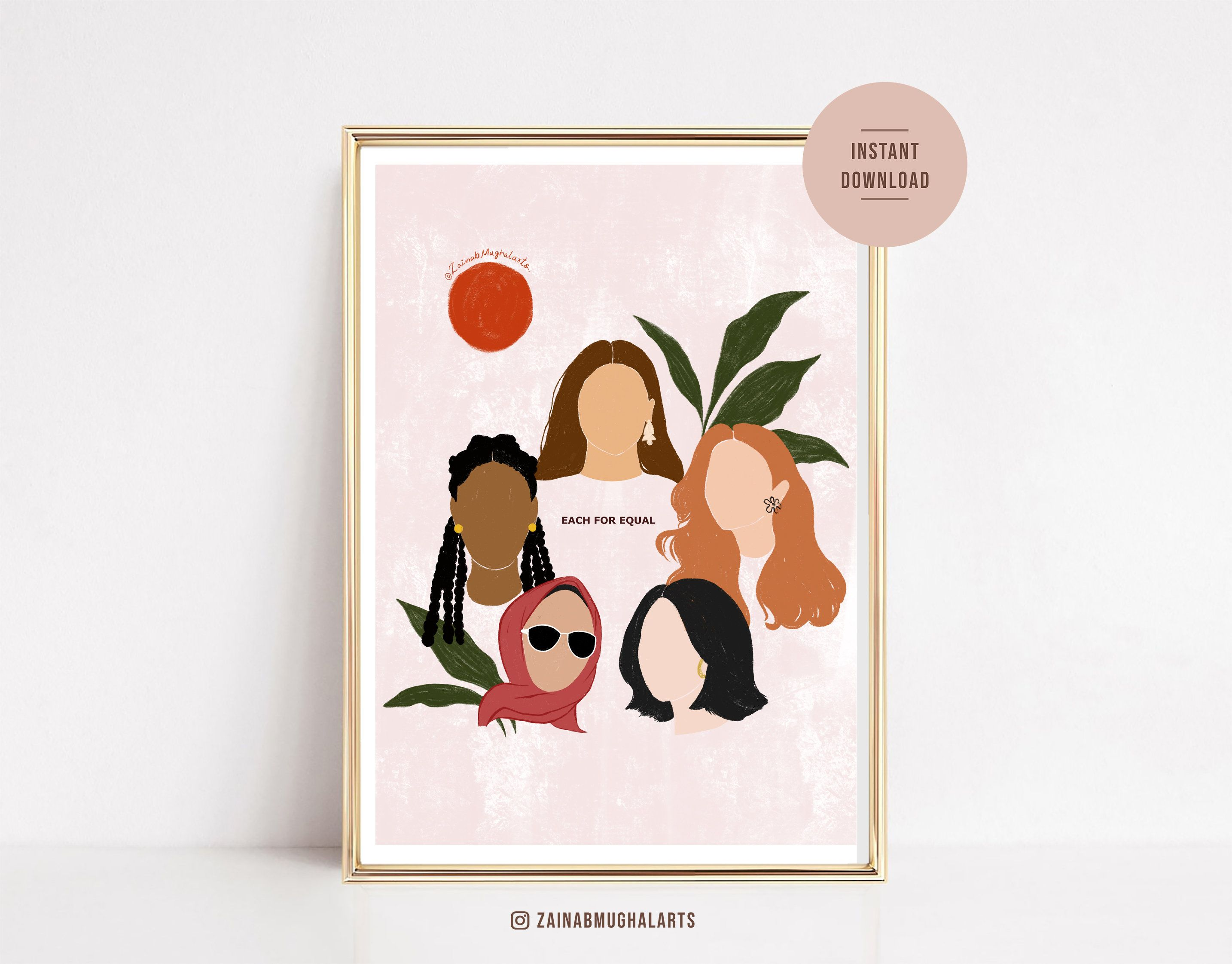 We Are One Illustration Wall Art Print Women Of Colours Etsy Illustration Wall Art Illustration Wall Printable Art Prints