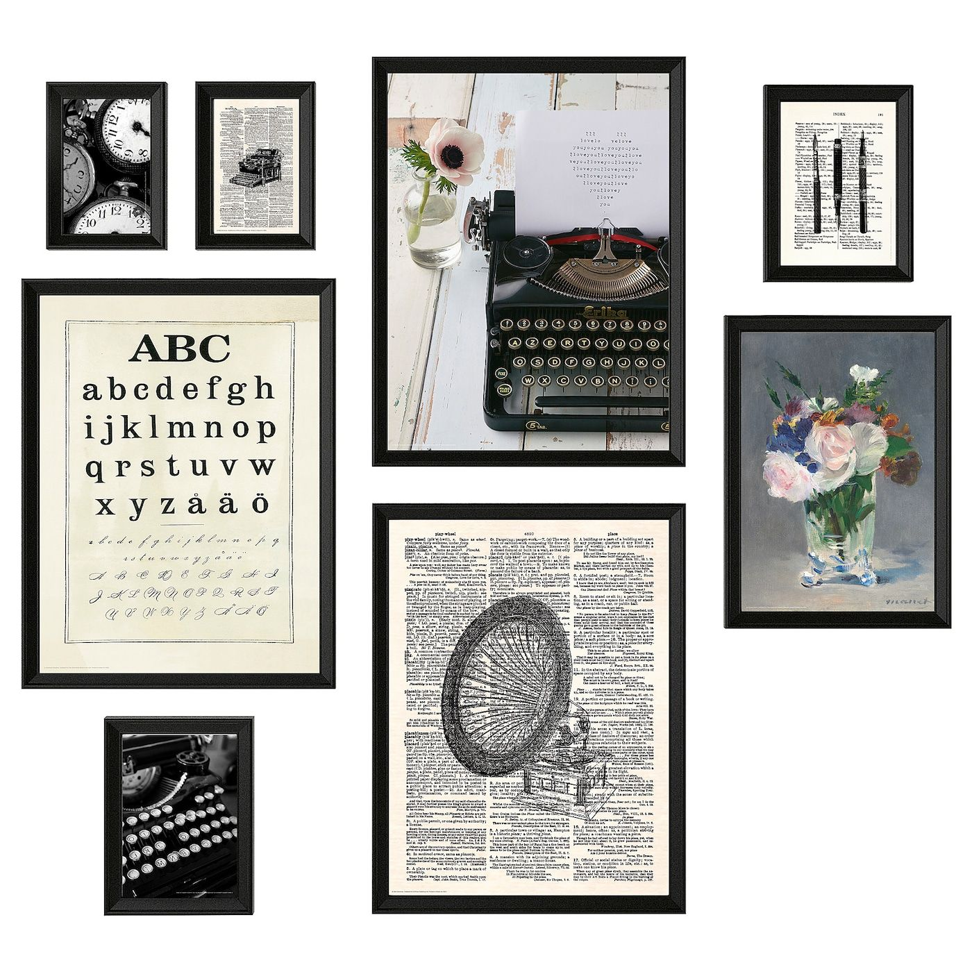 Knoppang Frame With Poster Set Of 8 Typewriter Ikea In 2020 Wall Collage Frame Typewriter