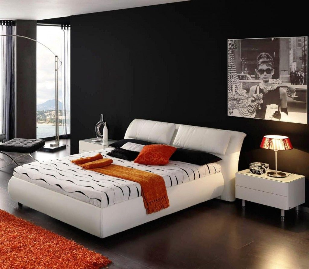 Modern bedroom paint color - Cool Minimalist Bedroom Apartment Black Walls Painting Ideas Combined Brightly White Upholstered Low Profile King Size