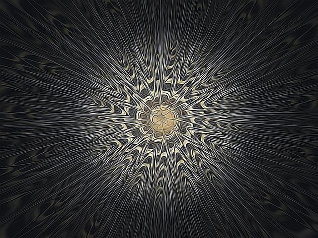 Fractal, Mandala, Feathers, Grey