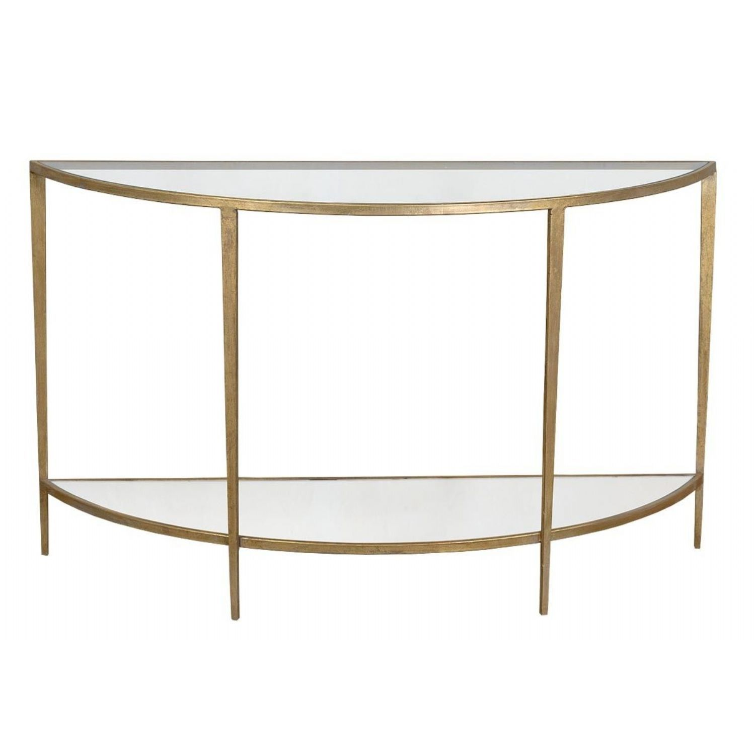 Gin Shu Parisienne Gold Metal Half Moon Console Table with Glass