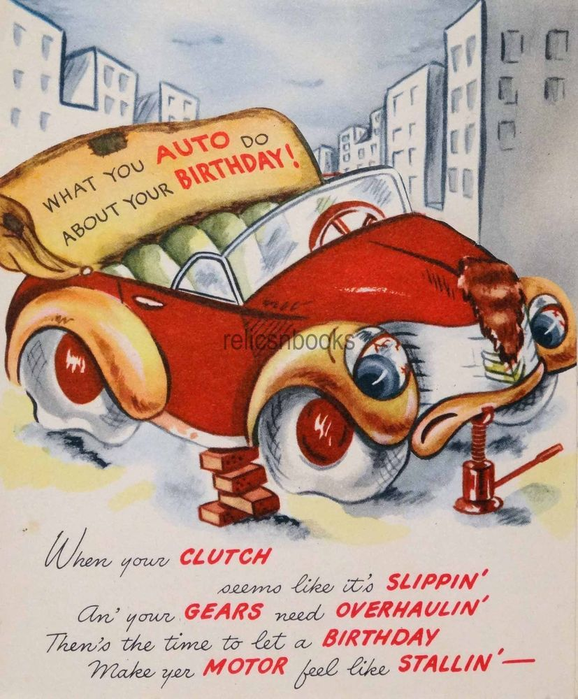 472 50s Anthropomorphic Car Vintage Greeting Card All Things