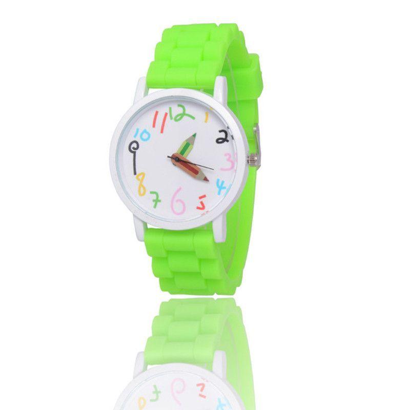 Children Kids watches Sport Watches Women Quartz-Watch Anime Cartoon Pencil Silicone Watch band Ladies Wristwatches Girl Boy