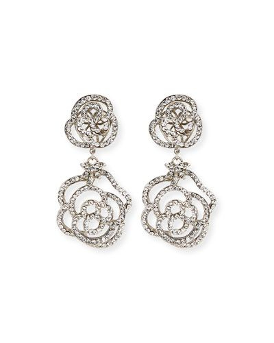 Jose & Maria Barrera Crystal Flower Clip-On Earrings Omy83