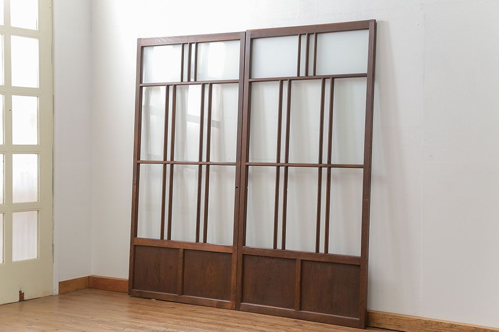 昭和レトロ すりガラス入り 変わり型ガラス戸2枚セット 建具 引き戸