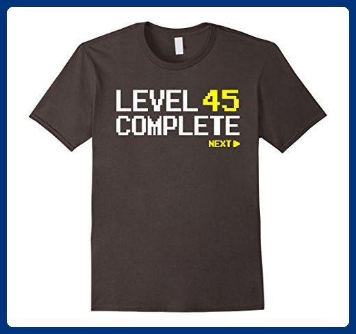 Mens Level 45 Complete T Shirt 45th Birthday Gifts 3XL Asphalt