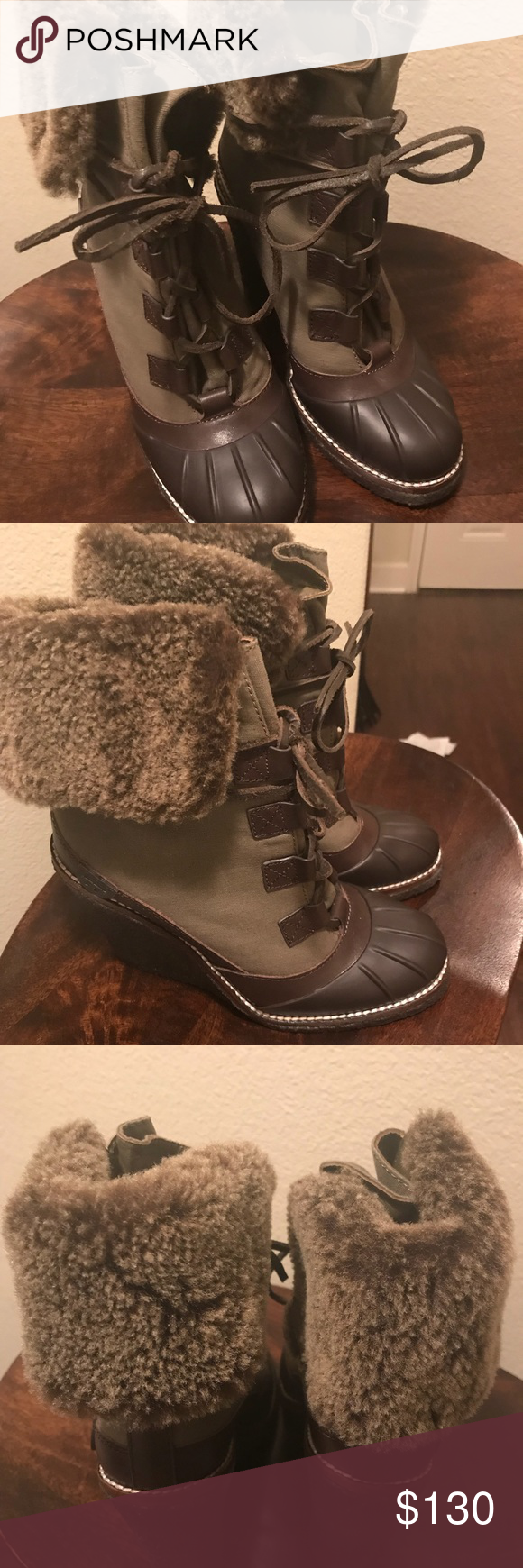 d40e2d37360 Tory Burch Faux fur ankle wedge boots Tory Burch Fairfax Shearling Fur Wedge