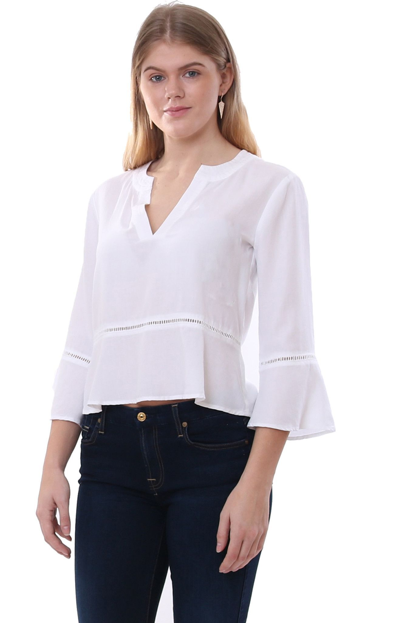 Bella Dahl Blouses White Peplum Pullover Top | Products ...