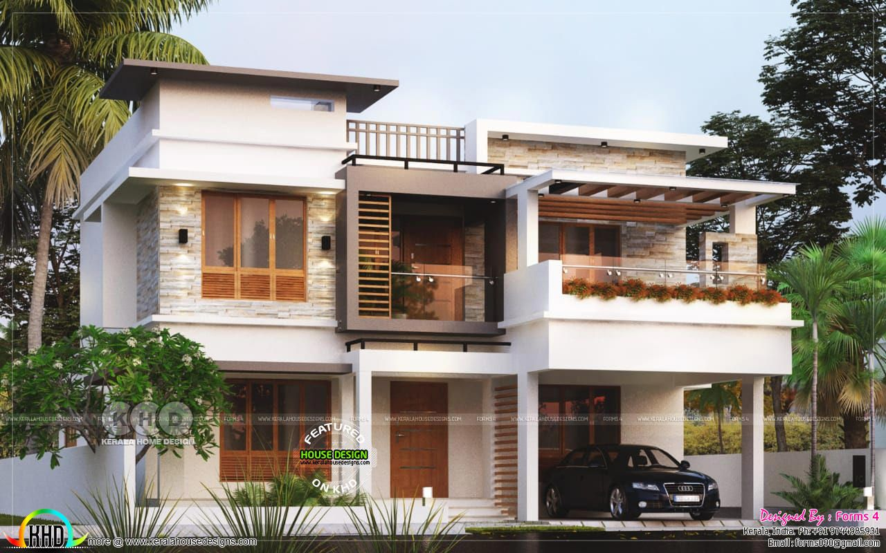 4 Bhk Modern Contemporary Flat Roof Home Kerala House Design