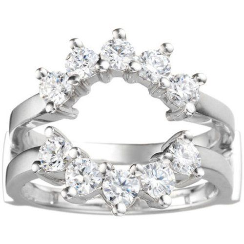 14k White Gold Cubic Zirconia Halo Wedding Ring Guard . $335.00