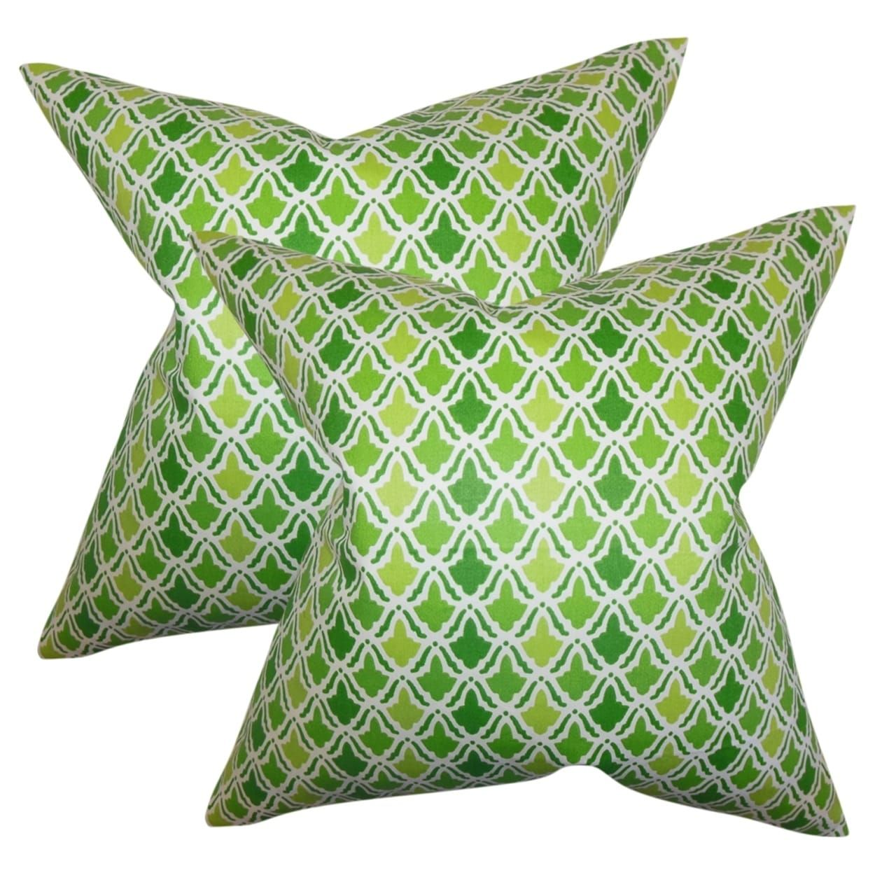 Set of oan geometric throw pillows in green size x