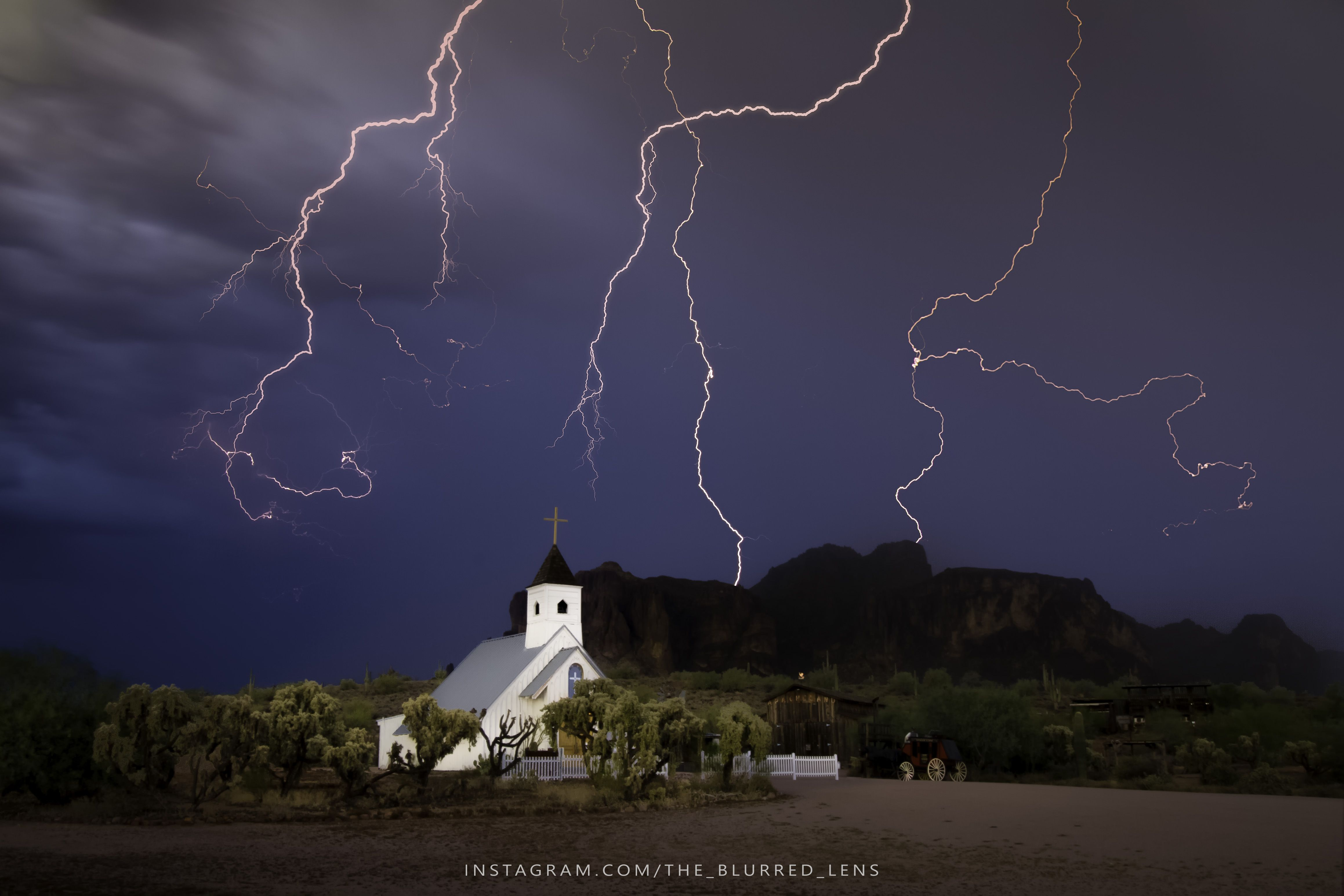 Insane Lightning Storm Captured Over Church. Apache