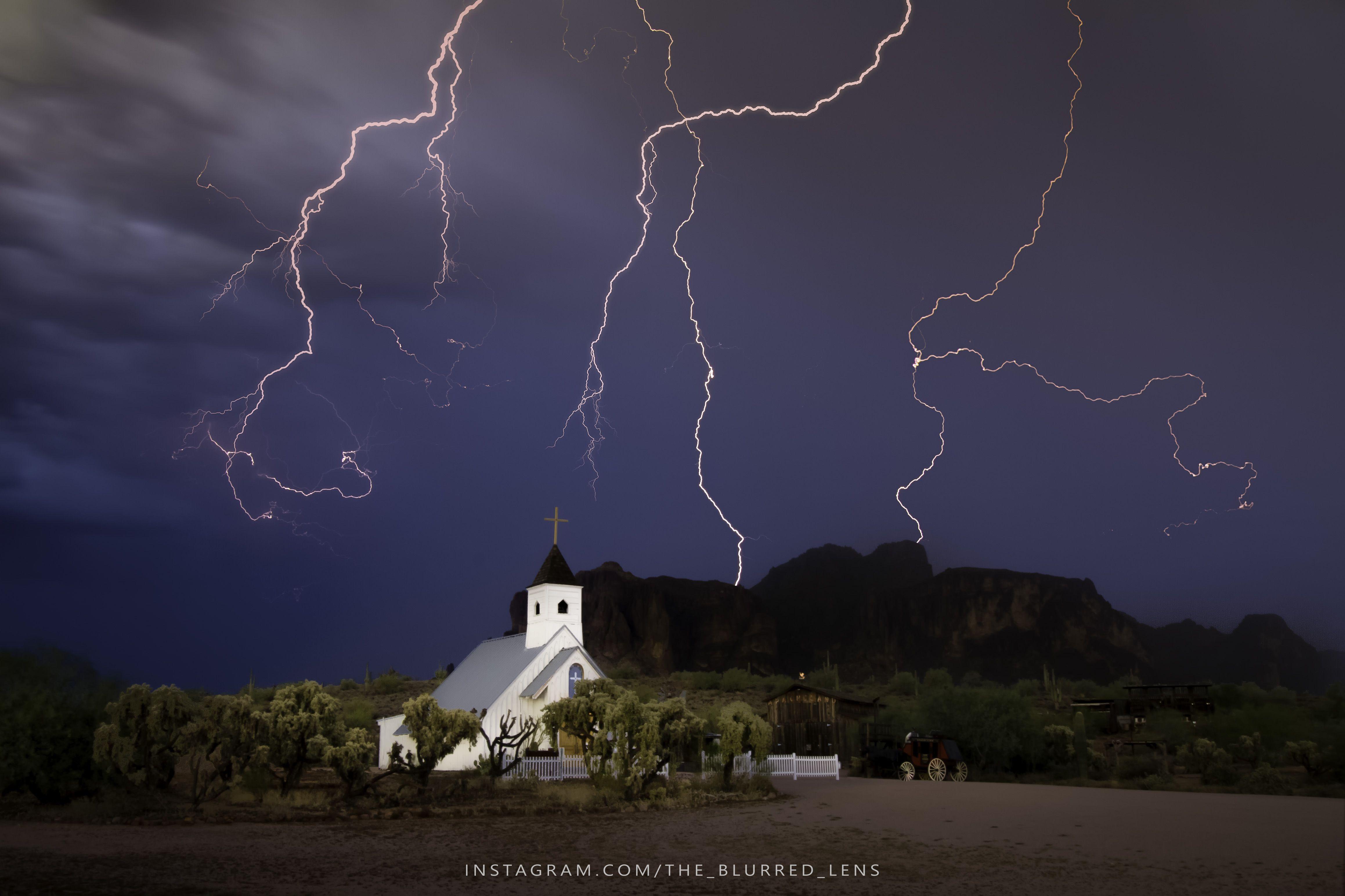 Insane Lightning Storm Captured Over Church. Apache Junction Az Oc 4635x3090 Reddit
