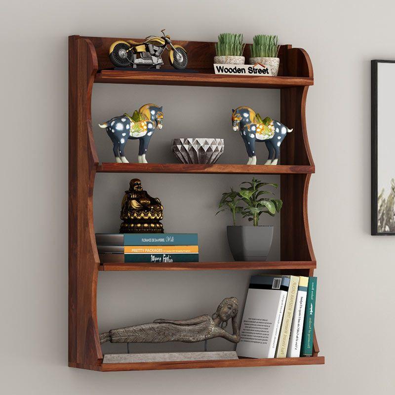 Buy Cascade Wall Shelf Teak Finish Online In India Wooden Street In 2020 Shelves Wall Shelves Wooden Street