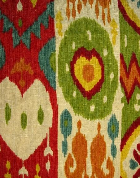 Red Ikat Fabric Multi Color Upholstery Yardage Linen Curtain Green Orange Yellow Pillow Material