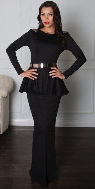 Modest Long Sleeve Formal Peplum Dress Mode Sty Hijab Tznius