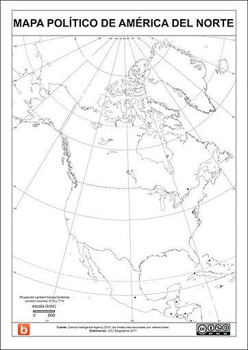 Mapa Politico De América Del Norte Para Escolares Mapas