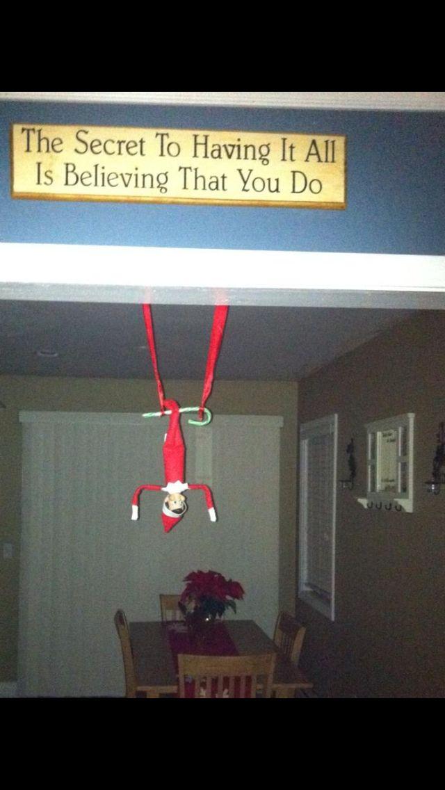 Swinging elf on shelf