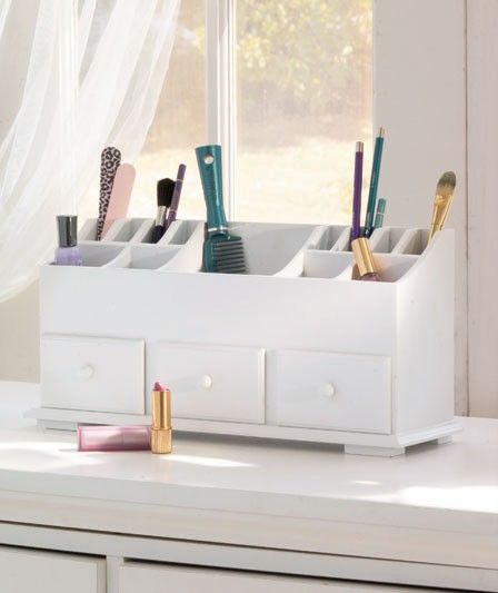Pics On  X Vanity n Beauty Organizer with Drawers u Storage in White White Wooden Organizer Contemporary design looks great on vanity or dresser Use as a desk