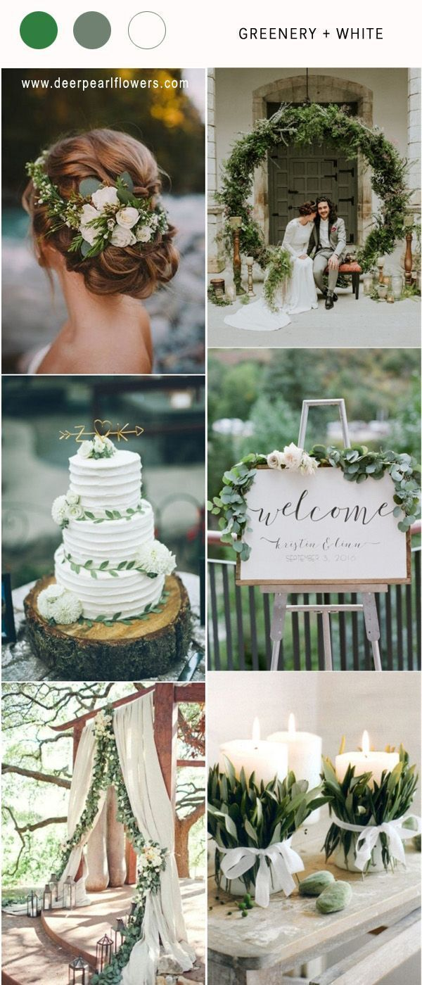 Wedding decoration ideas colors  Greenry and white spring summer wedding color ideas