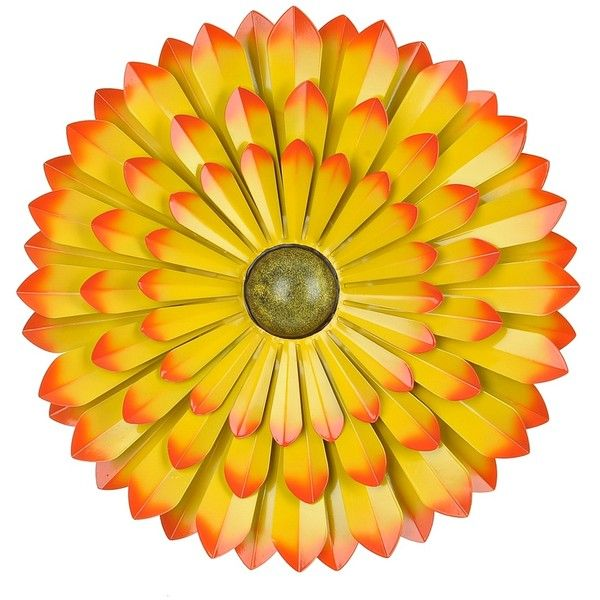 Yellow Flower Metal Wall Plaque, 20 in. ($20) ❤ liked on Polyvore ...