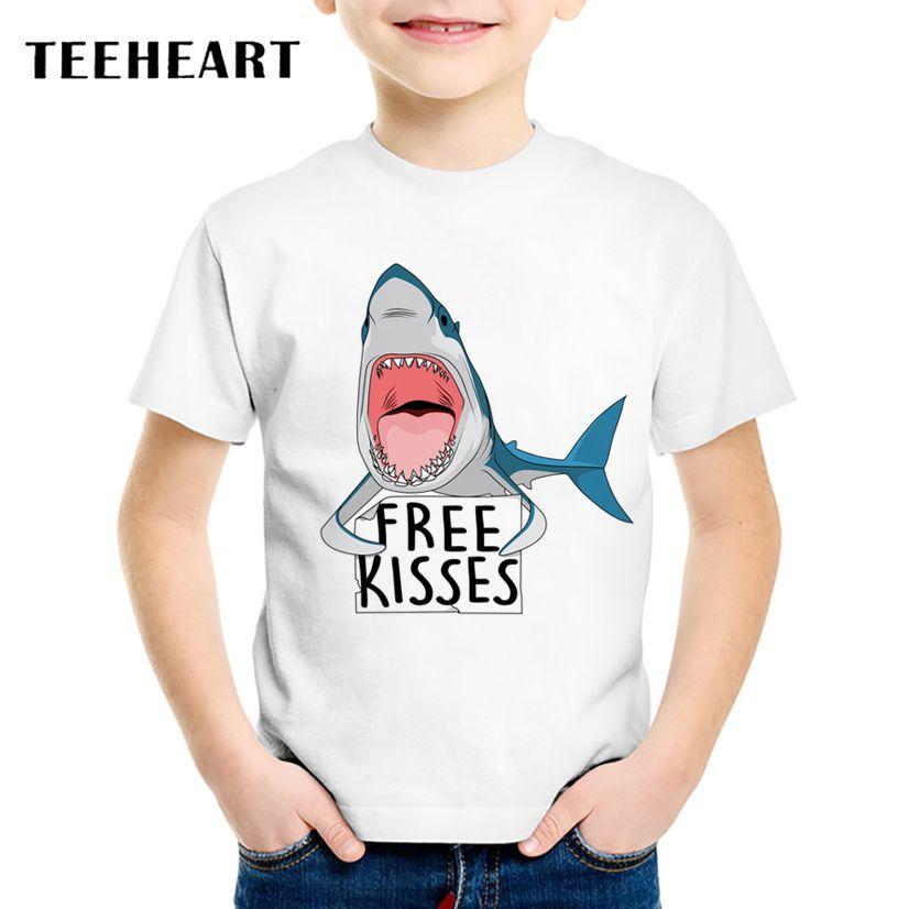 8e76da78cf9261 TEEHEART 18M-10T Boys/girls's Summer Funny Free Kisses Shark Printed  Harajuku Animal T Shirt Children Clothing TA635 //Price: $16.50 //  ##babyfashion