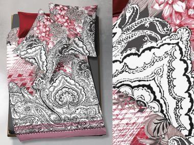Romantisch Mit Rosa Blumen Und Stylisch Mit Schwarz Weissen Ornamenten Diese Bettwasche Von Fleuresse Vereint Beides Und Ist Bettwasche Rosa Blumen Mako Satin