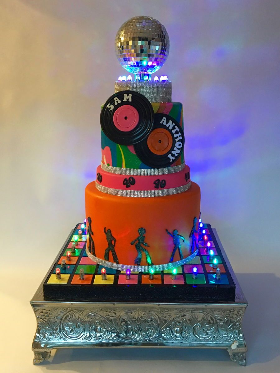 Groovy Disco Party Birthday Cake With Images Disco Birthday Party Funny Birthday Cards Online Hendilapandamsfinfo