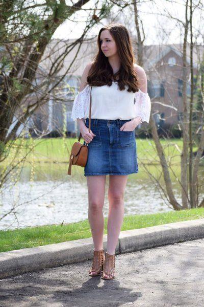 e92917bd4 Cold Shoulders and Denim Skirt   target   Denim skirt, Skirts, Lace ...