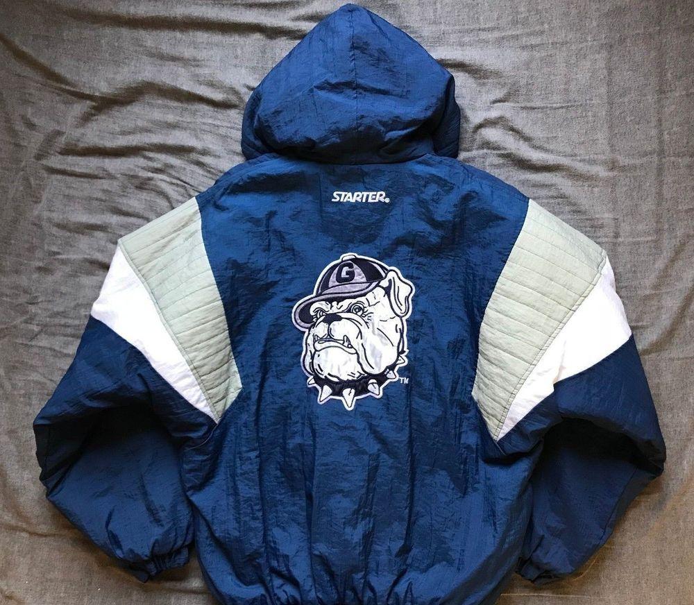 Men S Vintage 90 S Starter Ncaa Georgetown Hoyas Hooded Puller Jacket Size L Jackets Vintage Men Georgetown Hoyas
