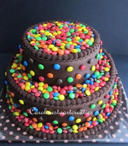 Chocolade taart met smarties | Caroline's taarten ... Smarties Taart