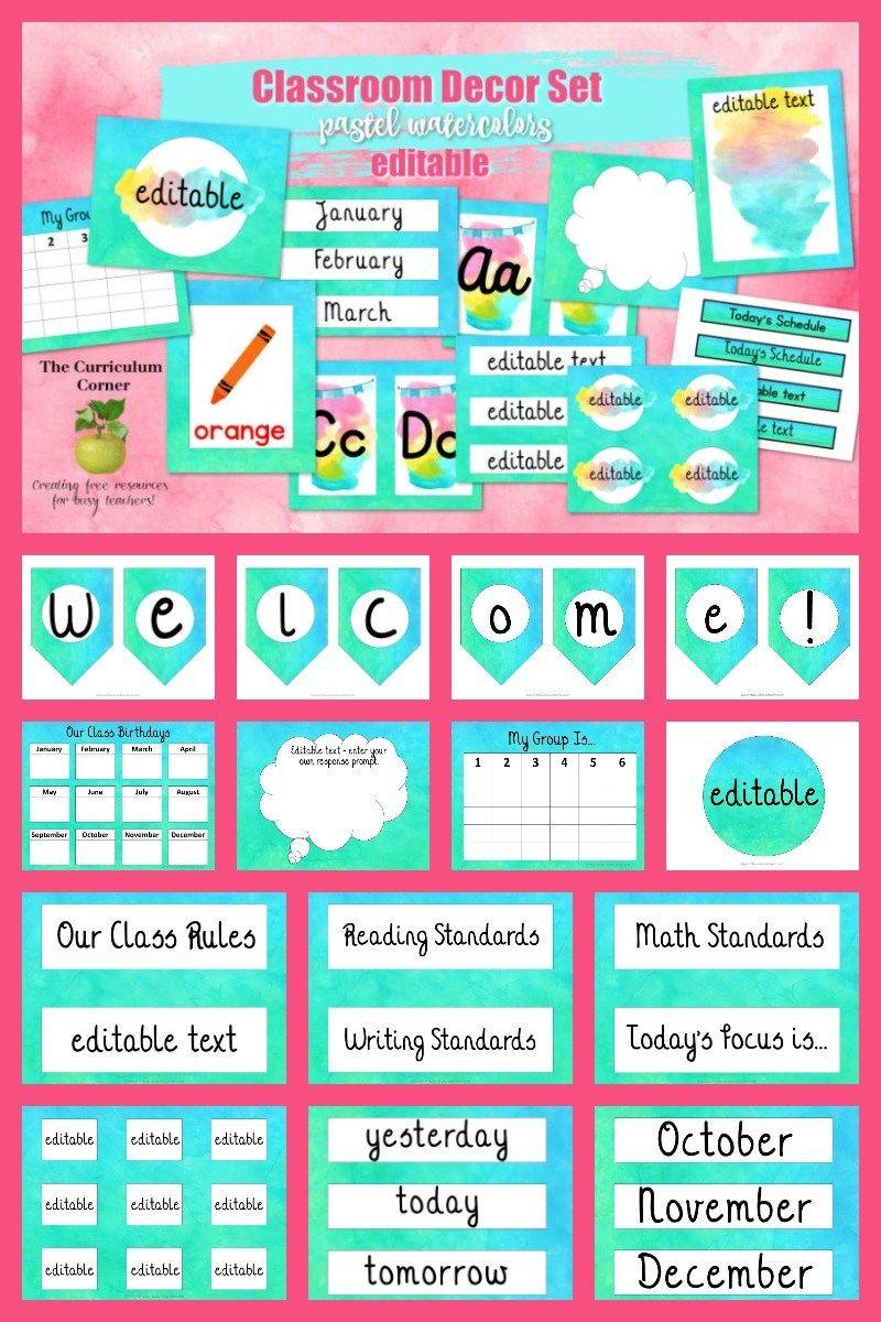 Watercolor Classroom Decor Classroom Labels Classroom Decor