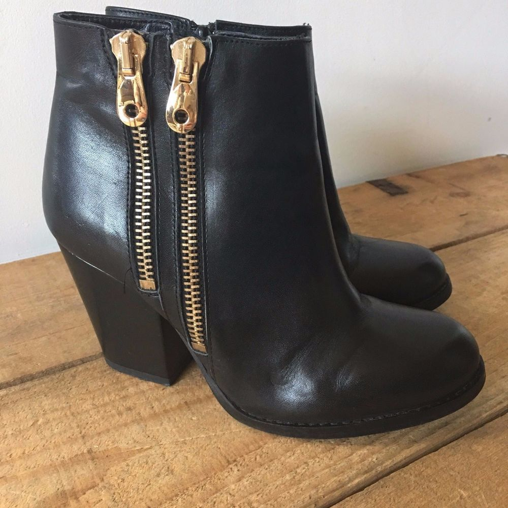 818bbe31185 UK SIZE 4 WOMENS RIVER ISLAND BLACK LEATHER ANKLE BOOTS GOLD DOUBLE ...