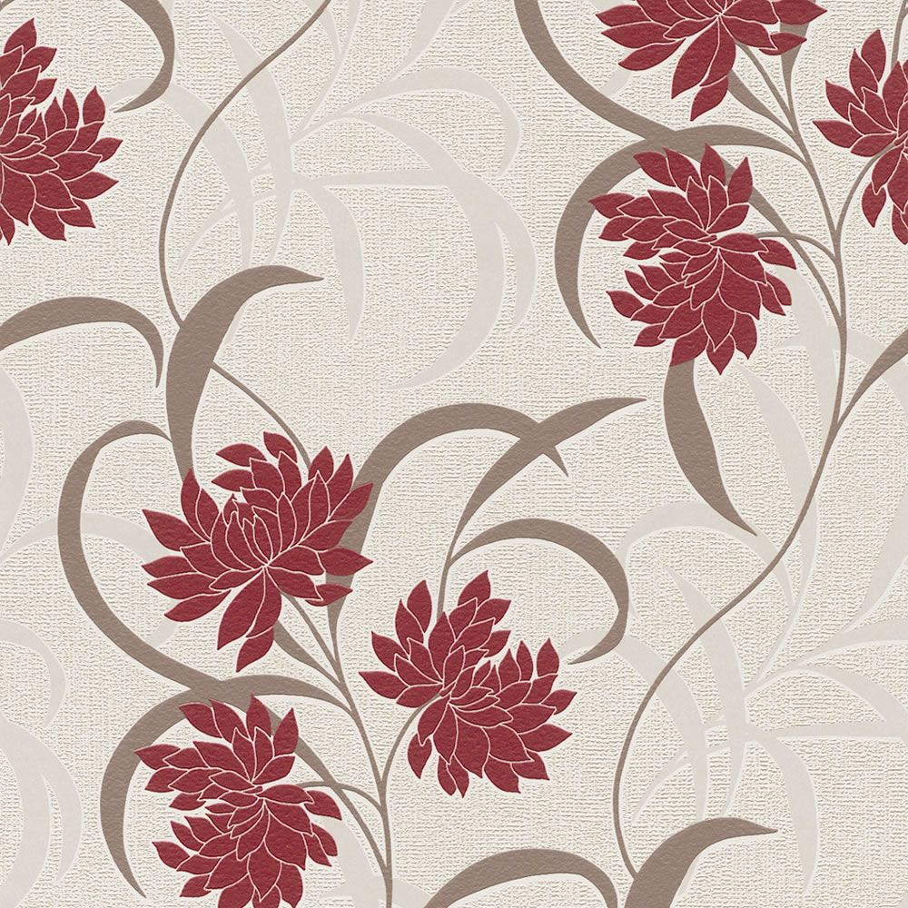 Rasch Textured Vinyl Wallcovering Camille Floral Trail Red 507232 Floral Coloured Wallpaper From Wi Vinyl Wallcoverings Wall Coverings Colorful Wallpaper