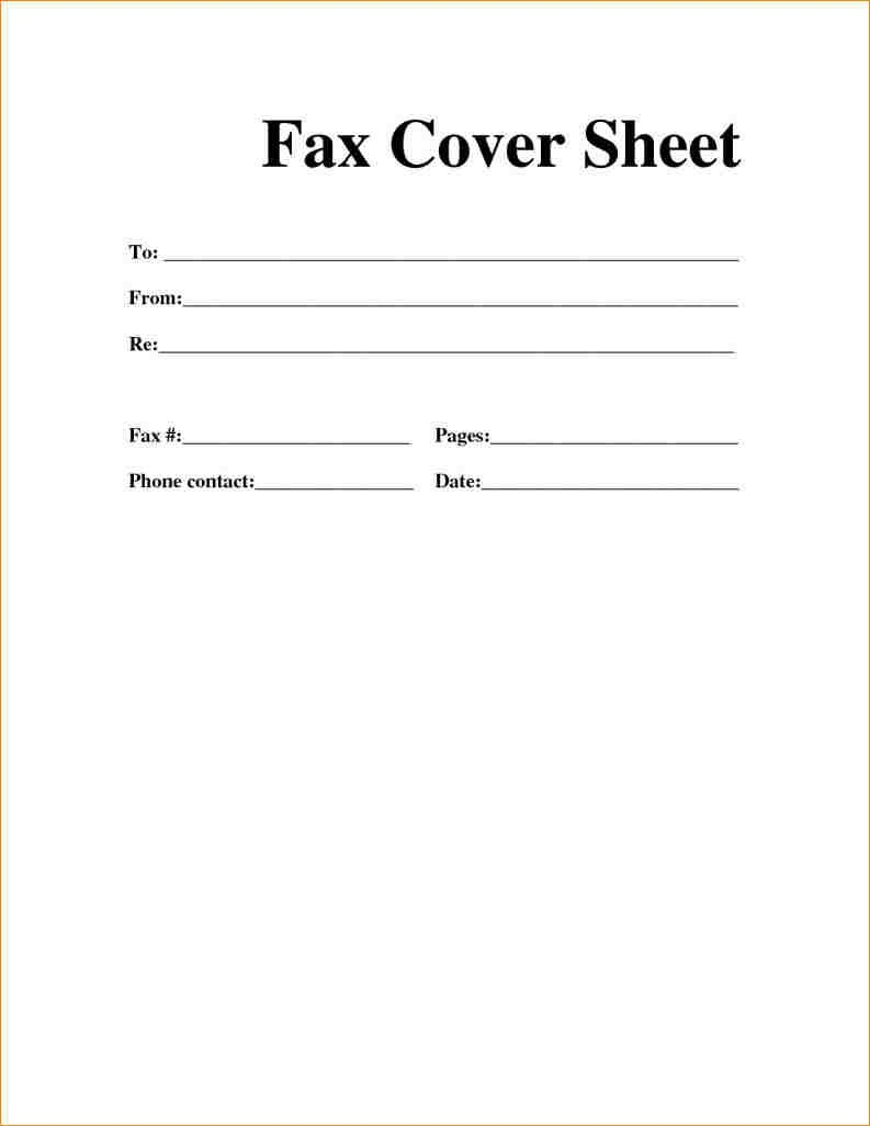 Printable Fax Cover Sheet Fax Cover Sheet Cover Sheet Template