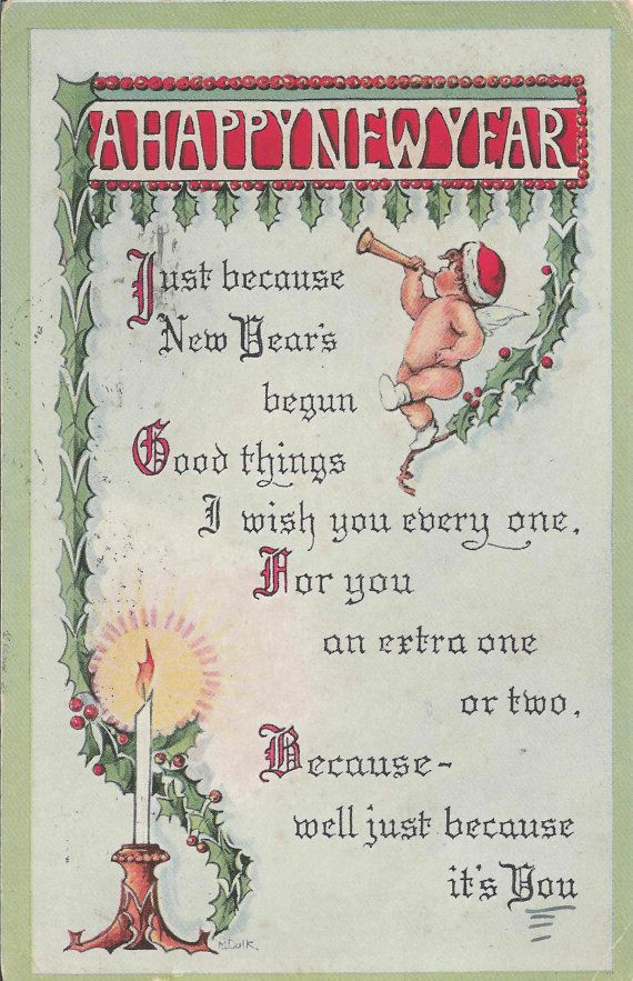 1916 Antique Happy New Year Postcard With Charming Cherub and ...