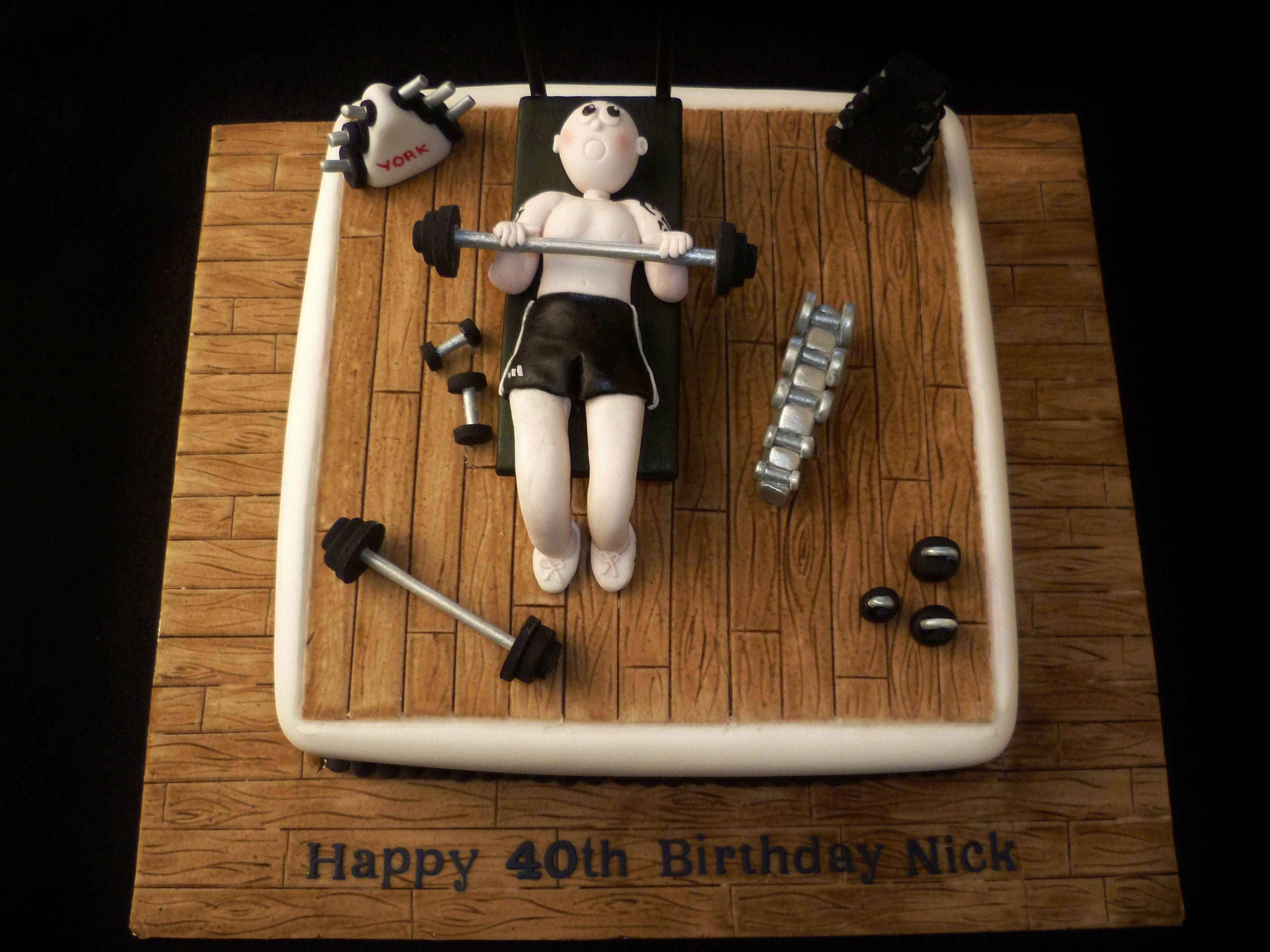 Men S 40th Birthday Weightlifter Cake Men S 40th
