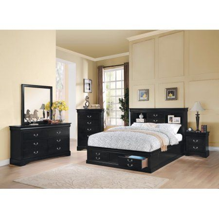 Sophisticated And Spacious Queen Size Storage Bed, Black