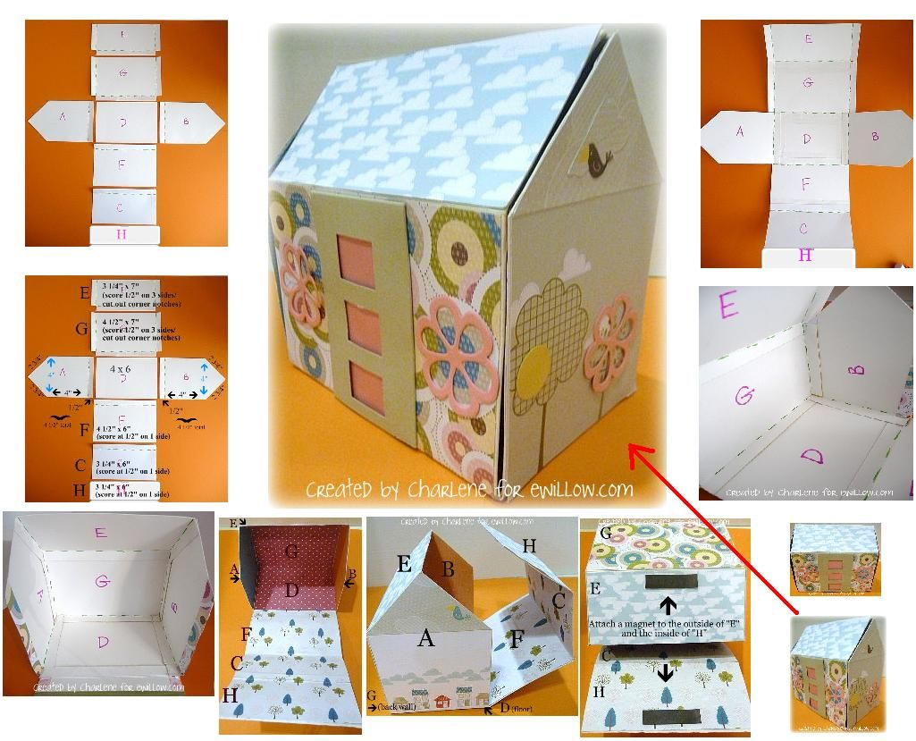 Casita de papel y carton | bolsa infantil | Pinterest | Cartón ...