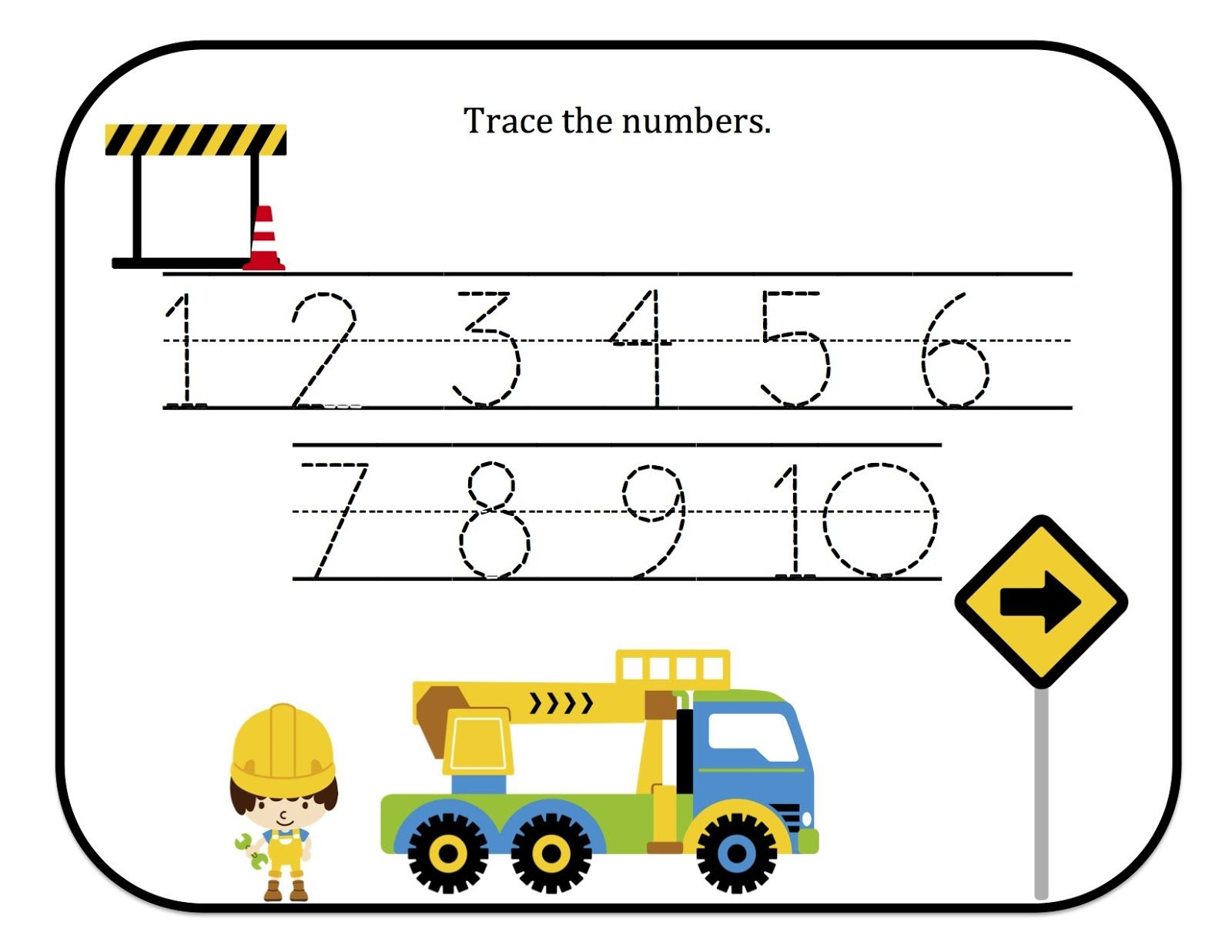 preschool printables construction number tracing printable busy