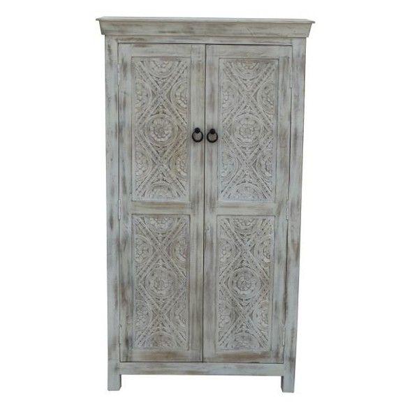 Büroschrank weiß antik  SCHRANK Mangoholz massiv antik, lackiert Weiß | Nice