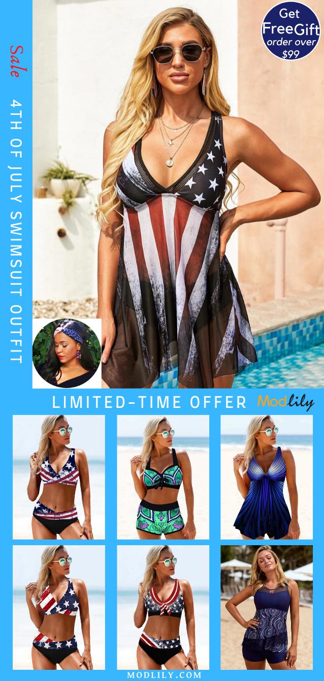 High Waist Swimdress Bikini Tankini Blue Printed 2020 Flag Day Outfit