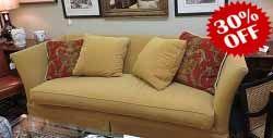 Cushion Sofa  Description: 48383 – Baker Gold Single Cushion Sofa  $700.00
