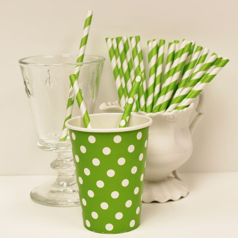 "Lime Green Cocktail Paper Straws and Party Cups. These shorter straws make perfect ""drink stirrers"" and are the perfect fit with our matching paper cups. Set of 25 Cocktail Straws $4.00"