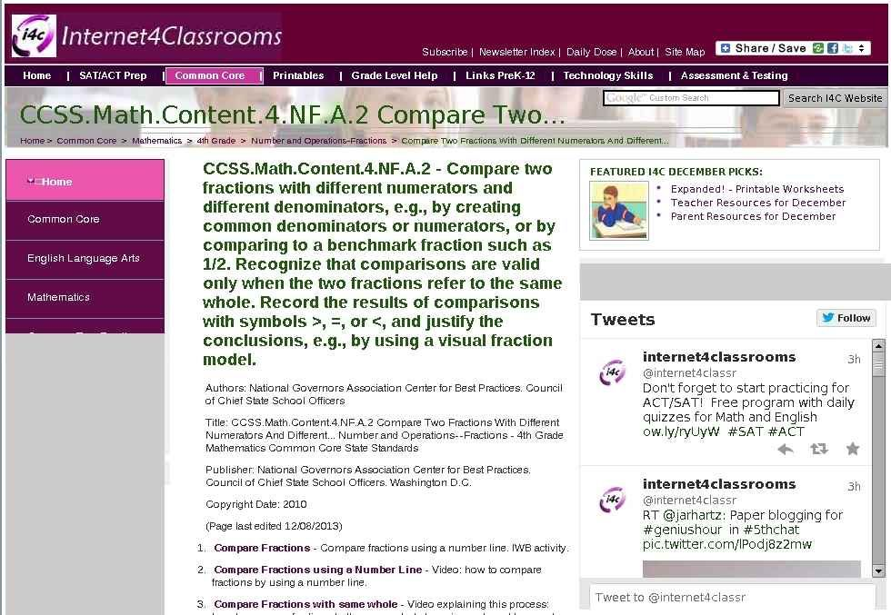 CCSS.Math.Content.4.NF.A.2 Compare Two Fractions With Different Numerators and different Denominators